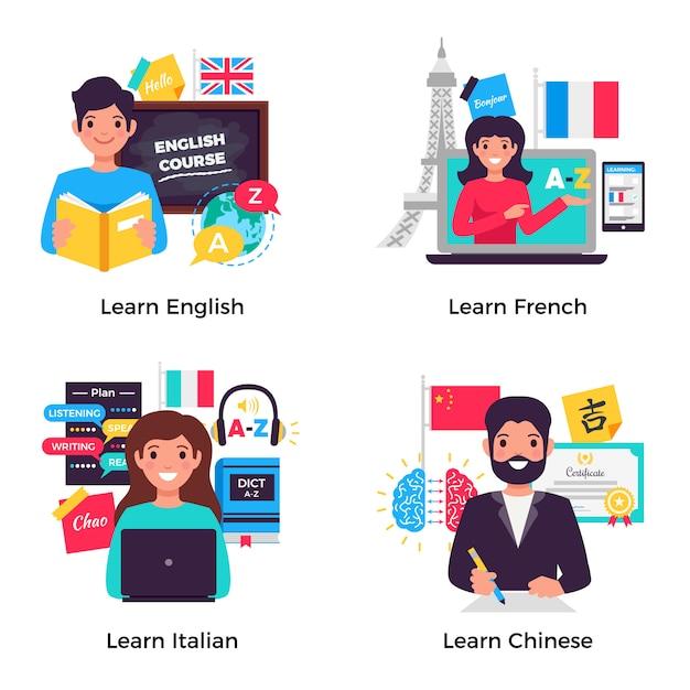 Collezione di banner per l'apprendimento delle lingue Vettore gratuito