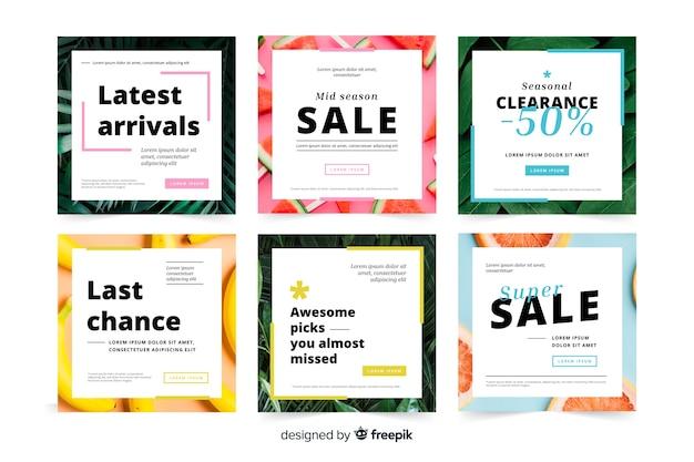 Collezione di banner quadrati di promozione Vettore gratuito