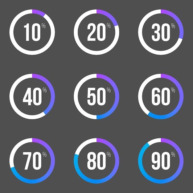 Collezione di barre di progresso rotonde. elementi del grafico a torta. Vettore Premium