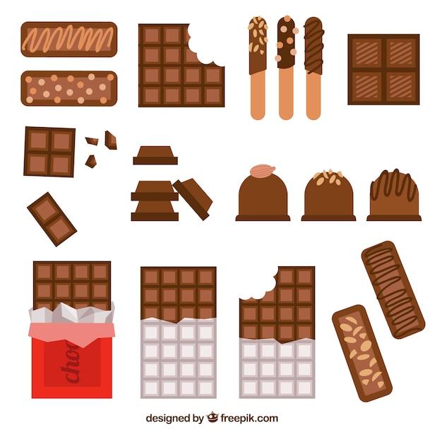 Collezione di barrette e pezzi di cioccolato con forme e sapori diversi Vettore gratuito