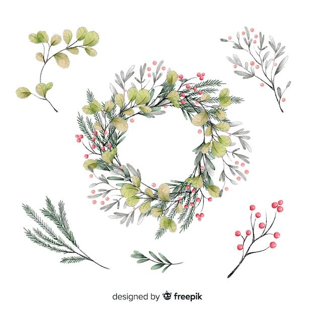 Collezione di bellissimi fiori di natale ad acquerello Vettore gratuito
