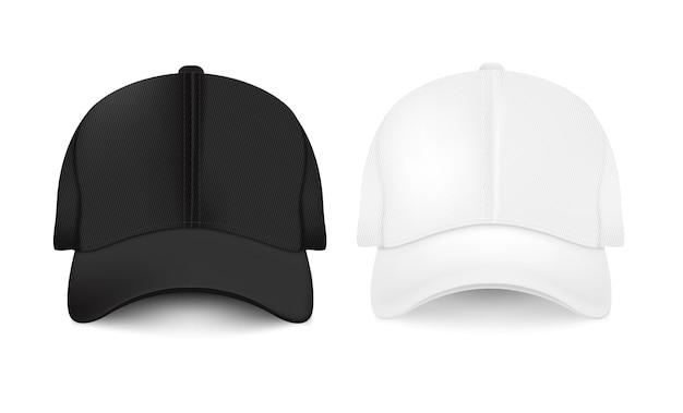 Collezione di berretti da baseball vuota Vettore Premium