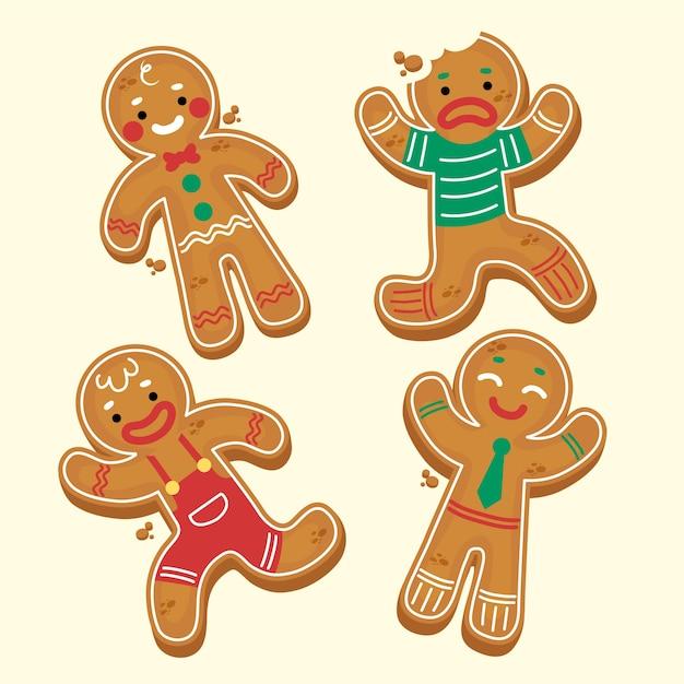 Collezione di biscotti uomo di pan di zenzero disegnati a mano Vettore gratuito