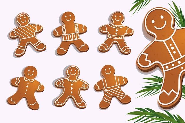 Collezione di biscotti uomo di pan di zenzero in design piatto Vettore gratuito
