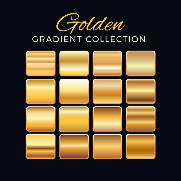 Collezione di blocchi gradiente d'oro Vettore gratuito