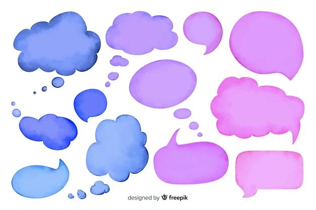 Collezione di bolle di discorso vuoto dell'acquerello Vettore gratuito
