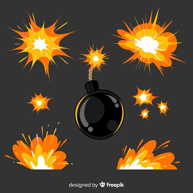 Collezione di bombe e esplosioni di fumetti Vettore gratuito