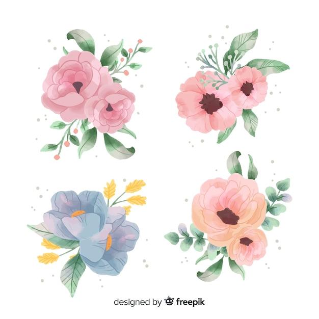 Collezione di bouquet floreale dell'acquerello Vettore gratuito