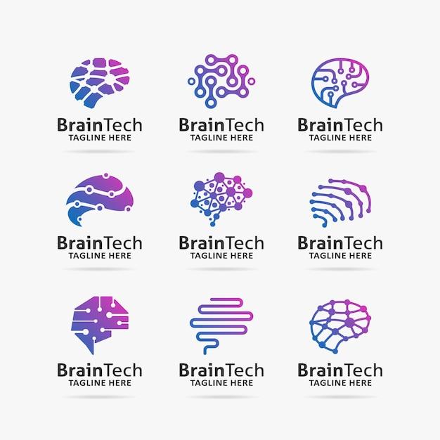 Collezione di brain tech logo design Vettore Premium