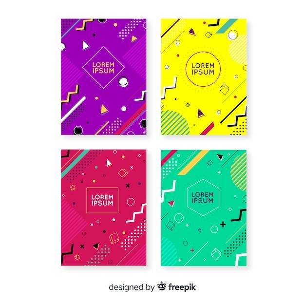 Collezione di brochure in stile memphis Vettore gratuito