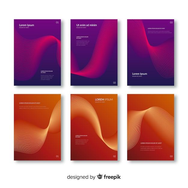 Collezione di brochure per linee a gradiente Vettore gratuito