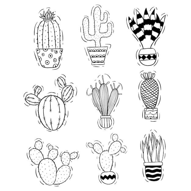 Collezione di cactus carino con stile doodle o schizzo Vettore Premium