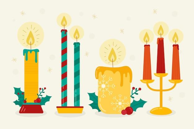 Collezione di candele natalizie design piatto Vettore gratuito