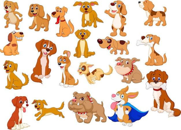 Collezione di cani dei cartoni animati Vettore Premium