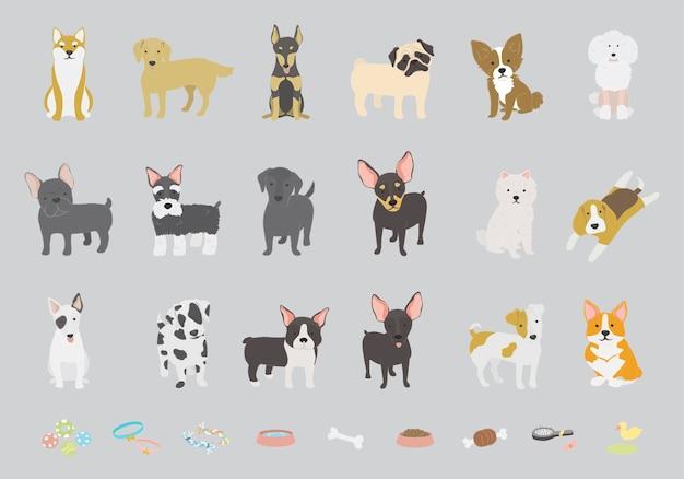 Collezione di cani Vettore gratuito