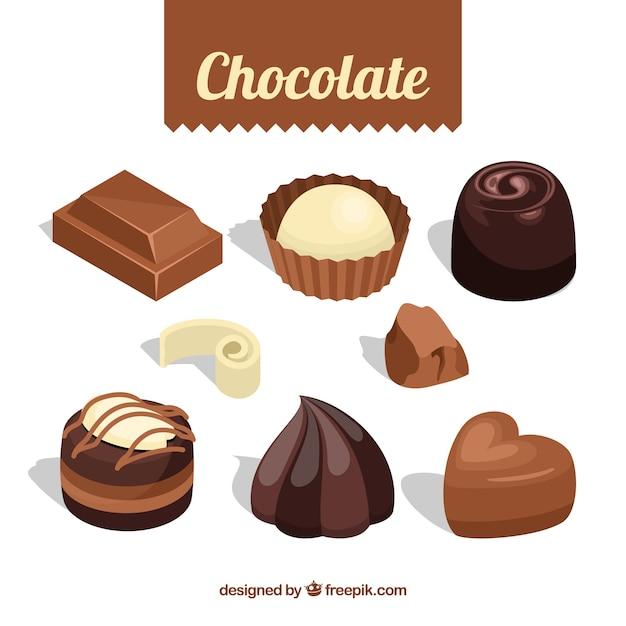 Collezione di caramelle al cioccolato con forme diverse Vettore gratuito