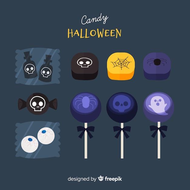 Collezione di caramelle di halloween colorato con design piatto Vettore gratuito
