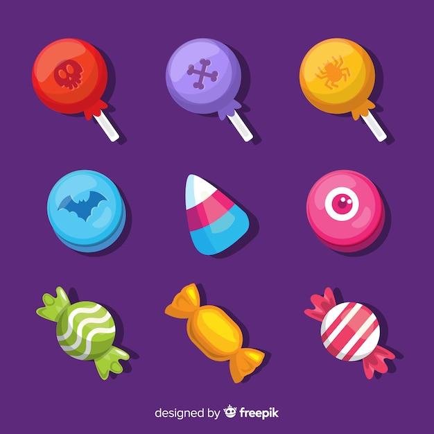 Collezione di caramelle di halloween design piatto Vettore gratuito