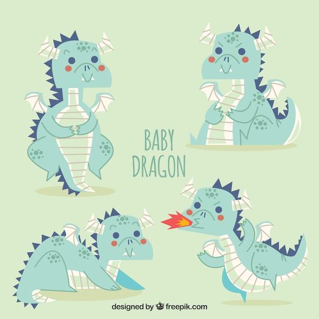 Collezione di caratteri del drago bambino disegnato a mano Vettore gratuito
