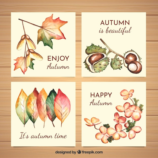 Collezione di carte acquerello autunno Vettore gratuito