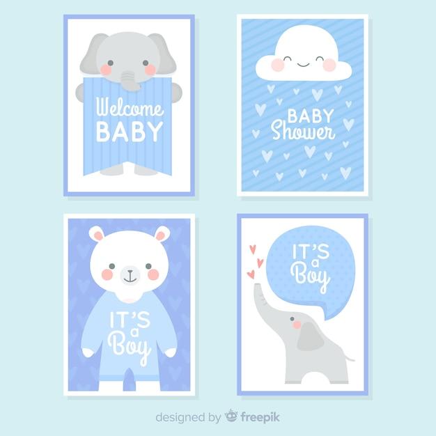 Collezione di carte baby shower Vettore gratuito