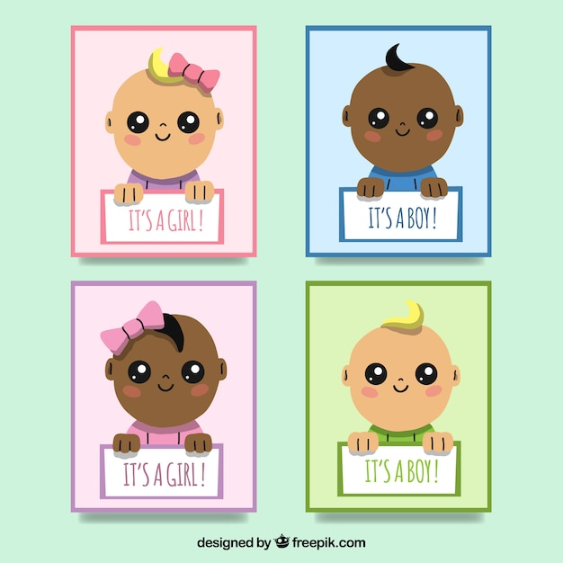 071e0ec056 Collezione di carte con bambini carini   Scaricare vettori gratis