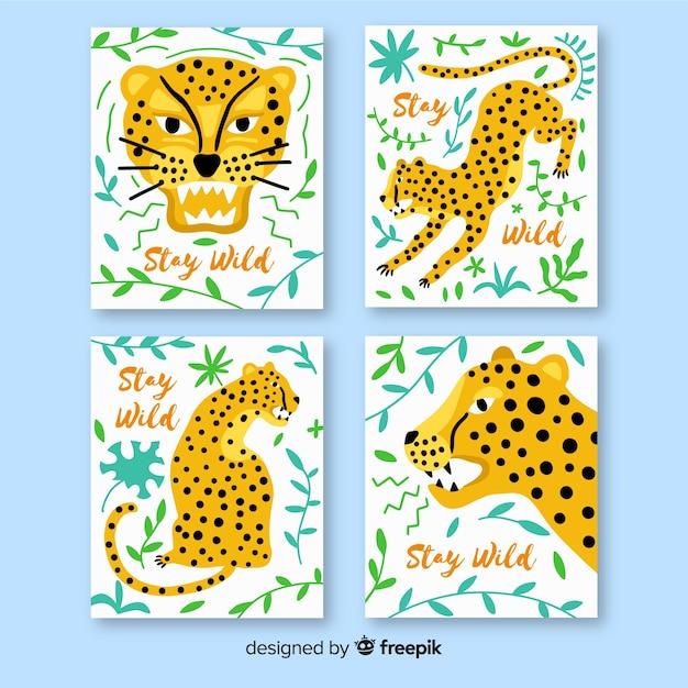 Collezione di carte di animali selvatici disegnati a mano Vettore gratuito