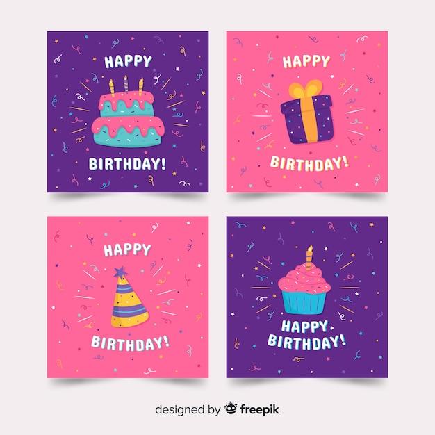 Collezione di carte di buon compleanno Vettore gratuito