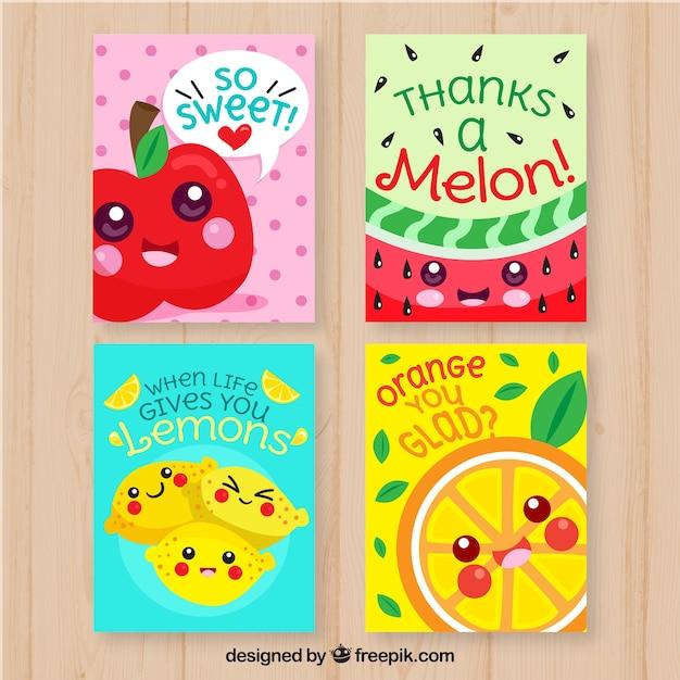 Collezione di carte di cibo con design piatto Vettore gratuito