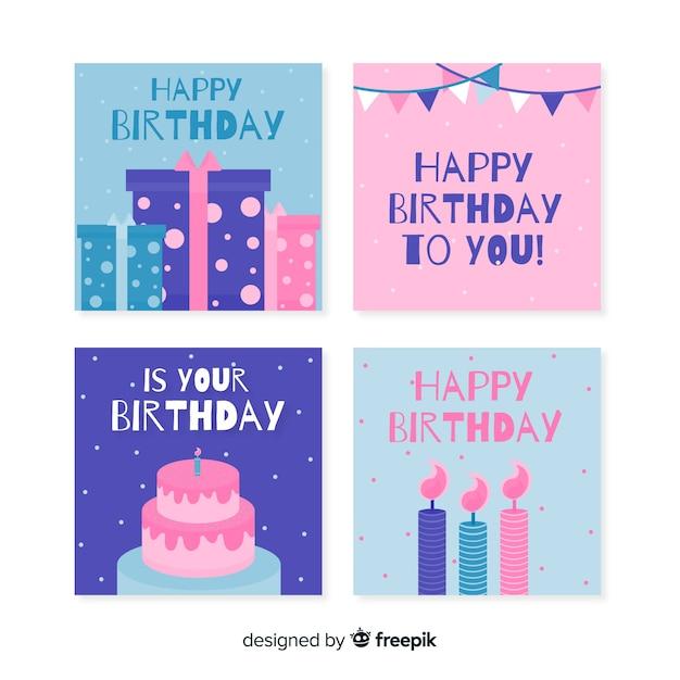 Collezione di carte di compleanno design piatto Vettore gratuito