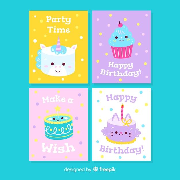 Collezione di carte di compleanno disegnata a mano Vettore gratuito