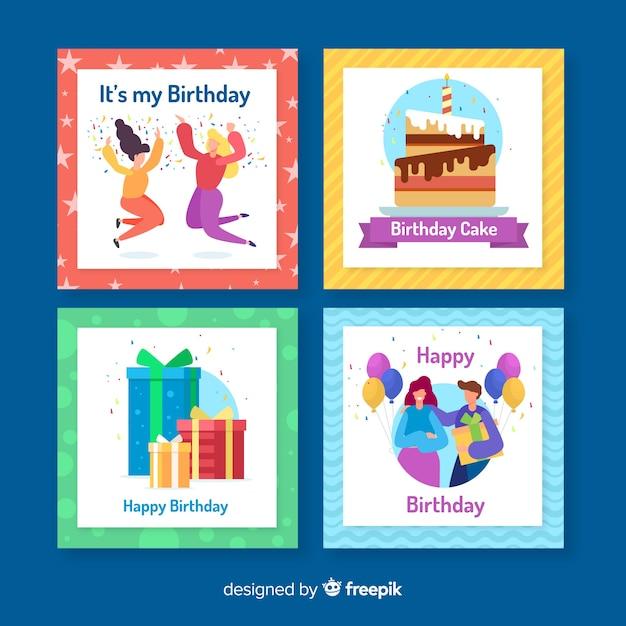 Collezione di carte di compleanno disegnati a mano Vettore gratuito