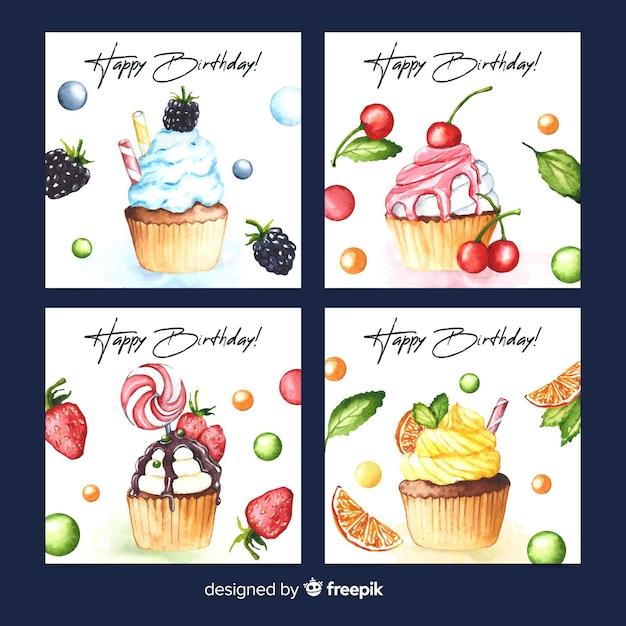 Collezione di carte di compleanno in stile acquerello Vettore gratuito