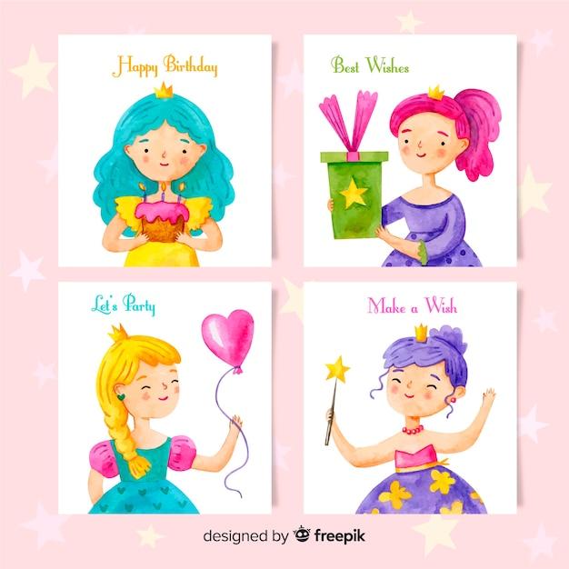 Collezione di carte di compleanno stile acquerello Vettore gratuito