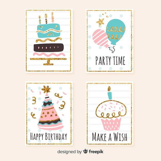Collezione di carte di compleanno Vettore gratuito