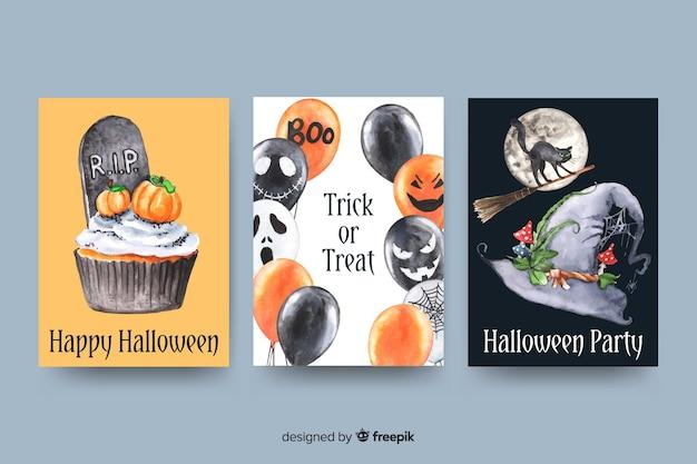 Collezione di carte di halloween dell'acquerello Vettore gratuito