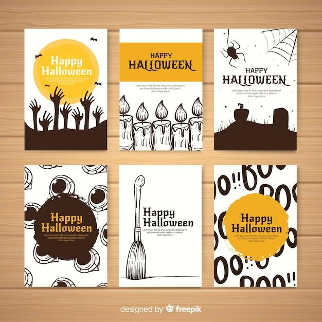 Collezione di carte di halloween disegnata a mano raccapricciante Vettore gratuito