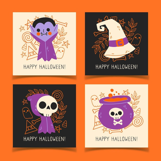 Collezione di carte di halloween disegnata a mano Vettore gratuito