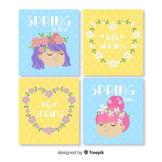 Collezione di carte di primavera Vettore gratuito