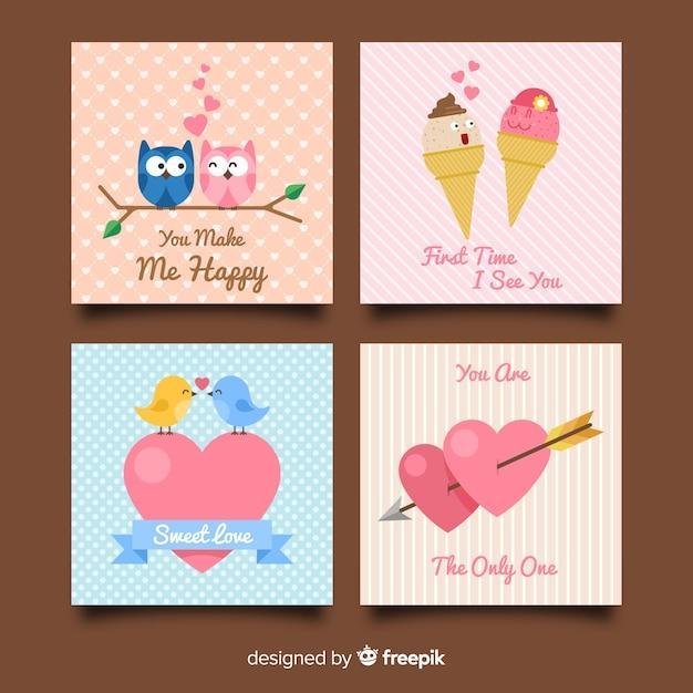 Collezione di carte di san valentino coppie Vettore gratuito