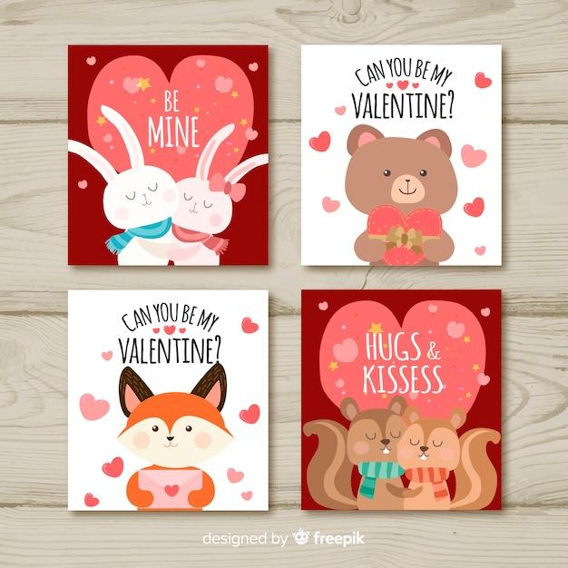Collezione di carte di san valentino Vettore gratuito