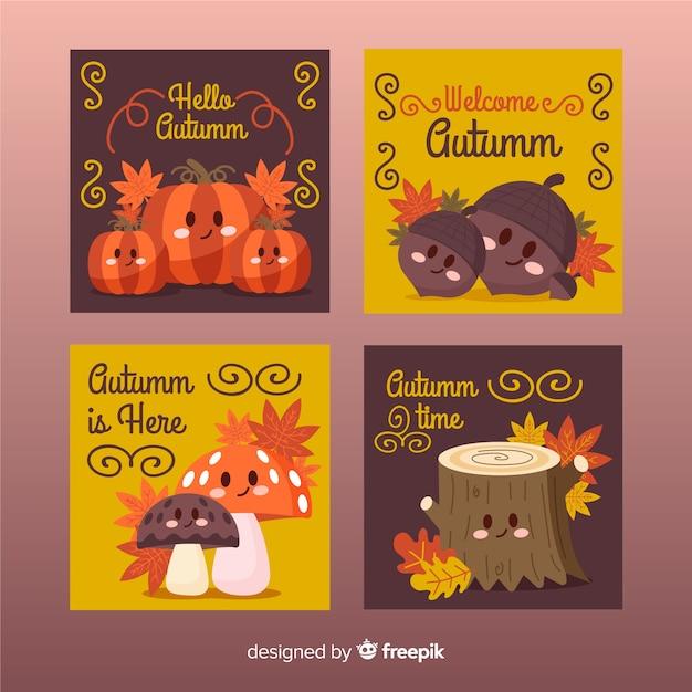 Collezione di carte disegnate a mano autunno Vettore gratuito