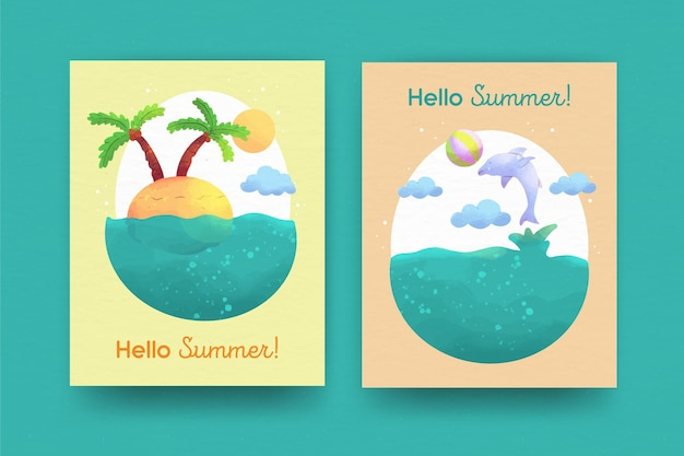 Collezione di carte estive dell'acquerello Vettore gratuito