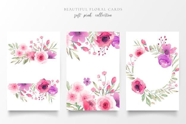 Collezione di carte floreali con fiori ad acquerelli Vettore gratuito