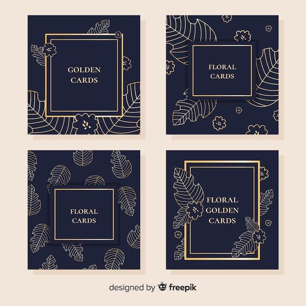 Collezione di carte floreali dorate Vettore gratuito