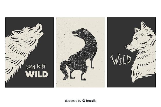 Collezione di carte lupo selvaggio, in bianco e nero Vettore gratuito