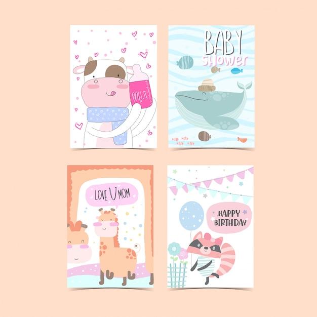 Collezione di carte modello per baby shower Vettore Premium