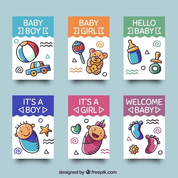 Collezione di carte per bambini con vestiti e giocattoli Vettore gratuito ff8f26c4f6b