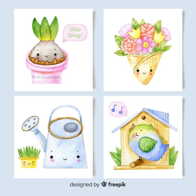 Collezione di carte primavera acquerello Vettore gratuito