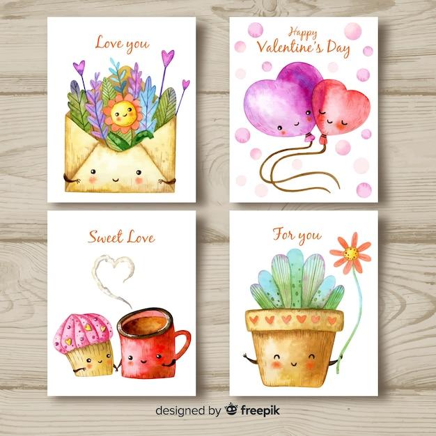 Collezione di carte valentine dell'acquerello Vettore gratuito